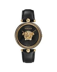 VERSACE LADIES WATCH, PALAZZO COLLECTION WITH BLACK COLOR LEATHER STRAP.