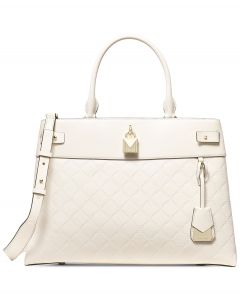MICHAEL Michael Kors Gramercy Chain Embossed Leather Satchel Cream