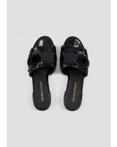 EMPORIO ARMANI  Flat sandals with sequins and logo buckle