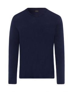 HANRO LONG SLEEVE SHIRT V NECK CASUALS DEEP NAVY