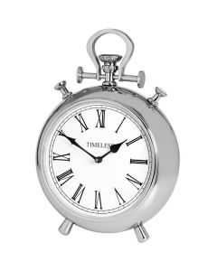 Hill Round Nickel Table Clock