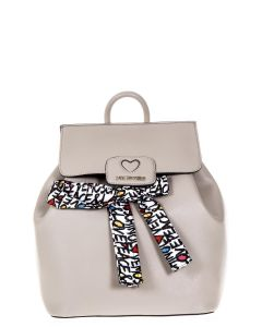 Love Moschino TAUPE LEATHER BACK PACK WITH MULTICOLOURED SCARF