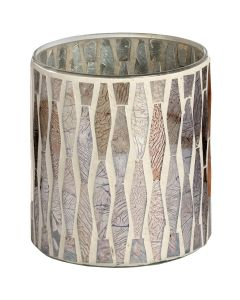 Hill Small Antique Silver Mosaic Candle Holder