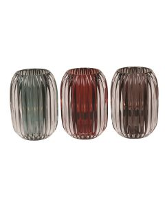 Ribbed Tealight Holder 13cm 3 Assorted