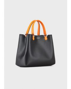 EMPORIO ARMANI  Leather shopper with contrasting perforated strap