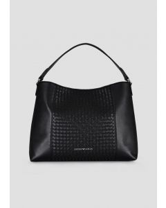 EMPORIO ARMANI  Leather hobo bag with woven central part and internal pochette