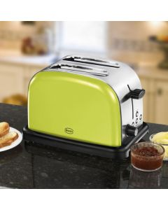 Swan Lime Green Stainless Steel 2 Slice Electric Toaster New