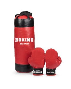 KIDS CHILDS BOXING CHAMPION PUNCH BAG & GLOVES SET EXERCISE