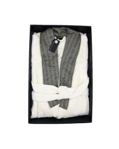RC- PLATINUM BATHROBE SHAWL S/M 810 BIANCO LANA