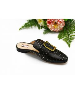 BALLY- JANESSE-METALSTUDS/08- BLACK LAMB STUDS LADIES SLIPPER
