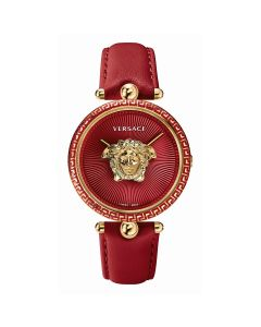 VERSACE LADIES WATCH, PALAZZO COLLECTION WITH RED COLOR LEATHER STRAP.