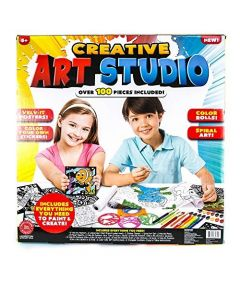 100 Piece Creative Art Studio with Paint, Paint Brushes, Markers, and Velvet Posters