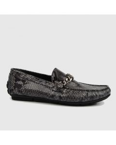 Roberto Cavalli Men's Snake-Embossed Drivers with Logo Chain Ornament-44