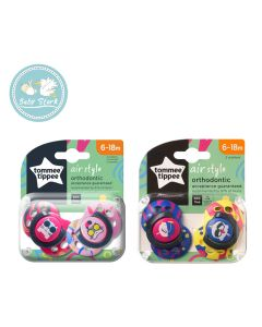 (TOMMEE TIPPEE)2 STYLE SOOTHERS 6-18M