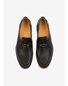 BALLY- NORRISON/10- BLACK CALF GRAINED MEN LOAFER