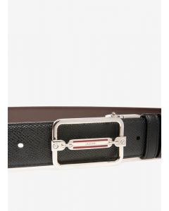 BALLY-STEFF35 M/320 BLACK CALF EMBOSSED BELT FOR MEN