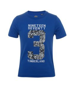 TIMBERLAND  BOYS SLIM FIT 1973 PRINT COTTON T SHIRT IN BLUE