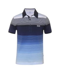 BOSS KIDS BOYS HOLOGRAPHIC STRIPE POLO SHIRT IN BLUE