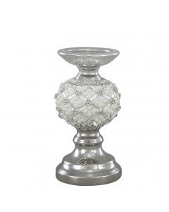 CIMC 20CM CANDLE HOLDER WITH PEARL DETAIL IVORY