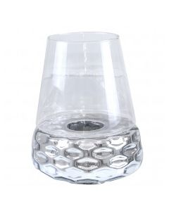 CIMC 44CM SILVER &CLEAR GLASS CANDLE HOLDER