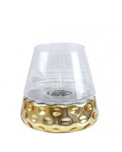 CIMC 26CM GOLD &CLEAR GLASS CANDLE HOLDER