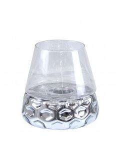 CIMC 26CM SILVER &CLEAR GLASS CANDLE HOLDER