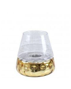 CIMC 20CM GOLD &CLEAR GLASS CANDLE HOLDER