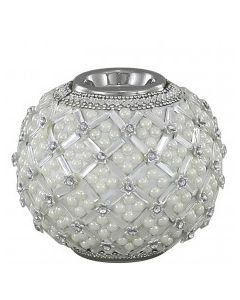 CIMC 11.5CM BALL TEALIGHT HOLDER WITH PEARL DETAIL IVORY