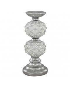 CIMC 30CM CANDLE HOLDER WITH PEARL DETAIL IVORY