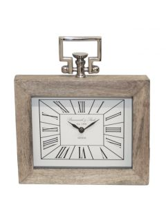 CIMC 30CM RECT TABLE CLOCK WOOD AND NICKLE
