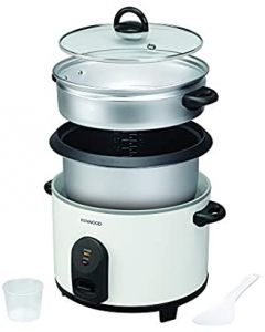 Kenwood 2 in 1 Non-Stick Rice Cooker with Steamer, White, 2.5 Litre