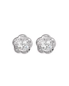 CORA WHITE GOLD PLATED AND CUBIC ZIRCONIA FLORAL STUD EARRINGS