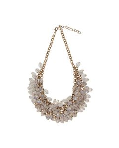 CLEO GOLD AND CLEAR CRYSTAL STATEMENT NECKLACE