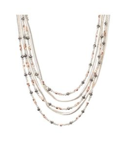 ASTERIA SILVER HEMATITE AND ROSE GOLD MULTI-ROW NECKLACE