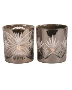 Etched Tea Light Holder 8cm 2 Assorted