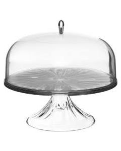 GUZZINI CAKE STAND WITH DOME 27CM -CLEAR