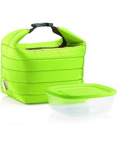 GUZZINI- SMALL THERMAL BAG W/AIRTIGHT CONTAINER HANDY- GREEN