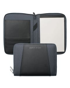 HUGO BOSS PENS BASE METAL KEYSTONE GRAY A5 CONFERENCE FOLDER