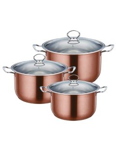 SQ PROFFESSIONAL GEMS STAINLESS STEEL STOCKPOT SET 3PCS AXINITE