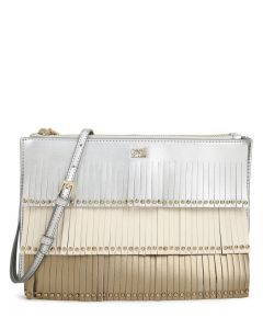 CAVALLI CLASS SILVER ALOHA LEATHER CLUTCH