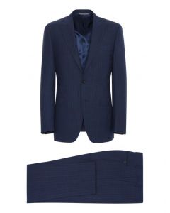 CANALI NAVY BLUE LINED WOOL SUIT