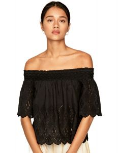 PEPE JEANS LUNA BLACK COTTON BLOUSE