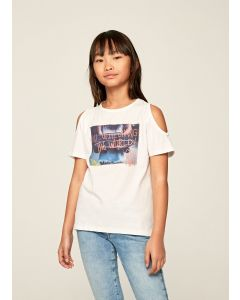 PEPE JEANS- BETTY WHITE T-SHIRT WITH PRINT