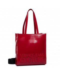 VERSACE JEANS COUTURE RED NAPLAK MACROLOGO UP HANDLE BAG