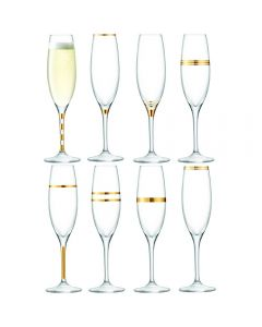 LSA Deco Champagne Flute 225ml Gold Assorted x8