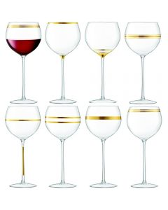LSA Deco Wine Goblet 525ml Gold Assorted x8