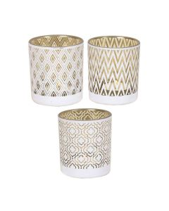 Set Of 3 Assorted White And Gold Glass Tealight Candle Holders Wedding Home