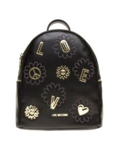 Love Moschino Black Flower Synthetic Backpack