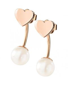 MORELLATO CHICCHE WOMAN EARRINGS WITH HEART PEARL WHITE ROSE GOLD