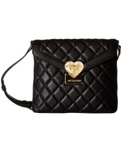 LOVE Moschino - Quilted Emblem Crossbody Camera (Black) Cross Body Handbags